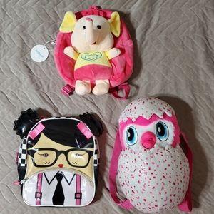 3pc bundle lot of Toddler Backpacks